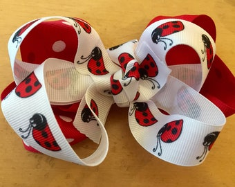 Lady bug and red and white polka dot 2 layer bow