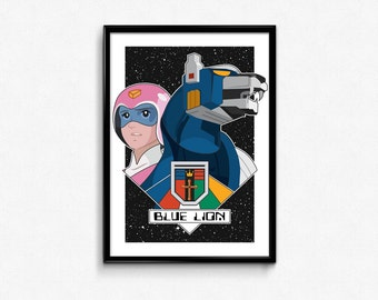 Blue Lion and Pilot Princess Allura Portrait // Digital Illustration and Fine Art Print // Colorful, Dynamic Voltron Inspired Pop Art Design