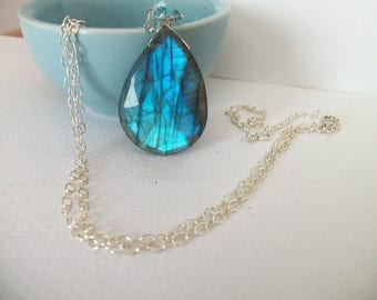 Blue Flash Labradorite, London Blue Topaz Natural Gemstone Handmade Necklace Wire Wrapped with Sterling Silver Long Necklace  SALE