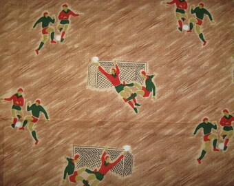 Odd retro antique football soccer mod graphic green rust on brushstroke beige vintage rayon fabric