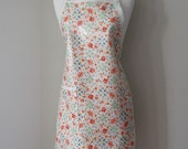 Womens Waterproof Apron Plus Size Apron in Creamy Floral Print