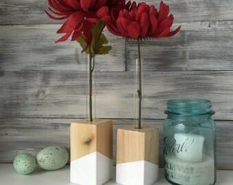 Test Tube Bud Vases. flower vase. Valentine Gift. Set of Two. Gift for her.