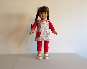 Red body suit and jumper for 18 inch doll
