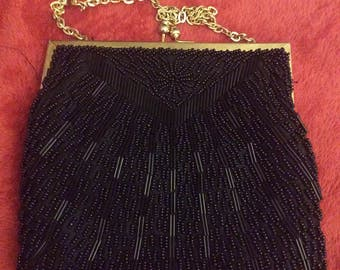 Beaded evening bag walborg purse gold tone chain excellent condition