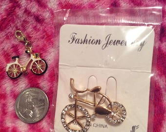Bike jewelry lot of 2: pin & pendant/Crystal brooch, hand painted/vtg Bicycle necklace charm