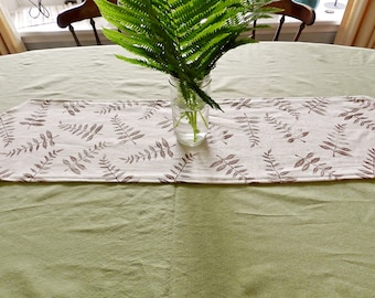 Table Runner Ivory Linen Botanical Print. Hand printed linens. Summer Entertaining Table setting. Ready to ship.  Natural Dining Decor.