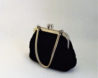 Little Black Bag, Black Velvet Bag, Small Black Handbag, Vintage Childrens Purse, Formal Black Change Purse, Small Wedding Bag, Velvet Pouch