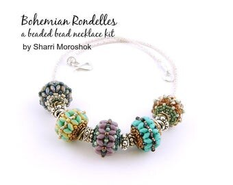 """Beaded Bead Necklace Kit - """"Bohemian Rondelles Necklace"""" - includes instructions and materials"""