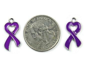 Enamel Purple Heart Ribbon Charms Set of 4