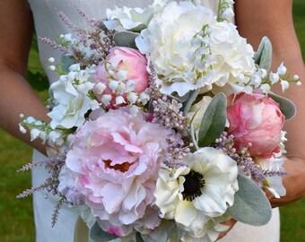 Silk Peony Wedding Bouquet, Wedding Bouquet, Blush Pink Peony Bridal Bouquet, Silk Peony Wedding Bouquet, Bridal Bouquet, EADEN GARDENS.