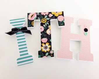 Black, Teal & Pink Floral Custom Decorated Wooden Letters, Nursery Name Décor, Unisex Bedroom, Hanging Wood Wall Decorations, Birthday Baby