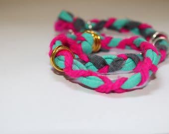 Two upcycled fabric braided bracelets