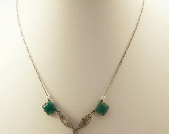 Edwardian Era delicate chrystophase necklace