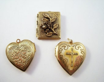 Locket Destash lot- three lockets- two hearts and  a book