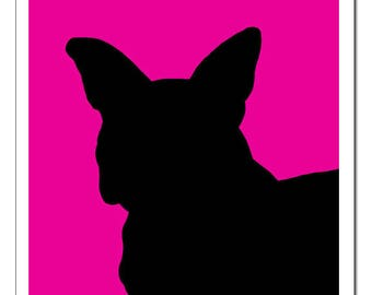 French Bulldog Silhouette-Pop Art Print CHIEN