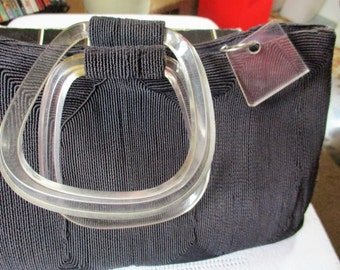 1940's Navy Blue Corde' Purse with lusite handle and zipper pull