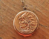 Vintage Gold Filled Indian Head Headdress Locket New 14K GF Chain Necklace