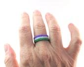 GenderQueer Pride Seed Bead Ring, Peyote Beaded Ring, Gay Pride Ring, Thin Band Ace Pride jewelry, LoveisLove, LGBT LGBTQ