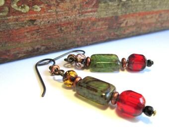 Bohemian Red and Green Jewel Tone Czech Glass Earrings, Dark Copper Boho Chic Gypsy Look with Hypoallergenic Niobium Earwires
