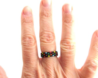 Skinny Polka Dot Rainbow Pride Ring, Skinny Peyote Ring, Gay Pride Bead Ring, Rainbow Jewelry, LoveisLove LGBT LGBTQ