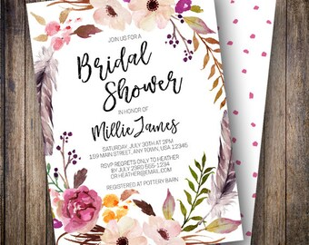 Rustic Bridal Shower Invitation, Watercolor Flowers, Boho Wedding Shower, Feathers, Wine, Green, Dusty Pink, Orange, 906