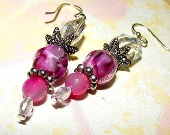 Pink Earrings. Dangle earrings. Pink, silver and crystal drop earrings. Sparkly Earrings.  Handmade.