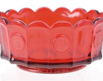 """Vintage Fostoria Ruby Red Coin Dot Fluted Center Bowl 7"""" Compote"""