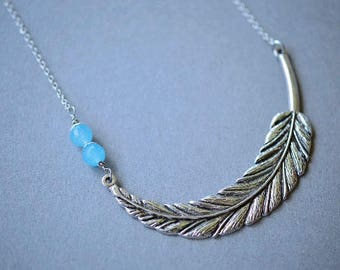 Feather Necklace, Statement Necklace, Angelite Necklace, Blue Necklace, Angelite Feather, Blue, Faceted, Steel Necklace