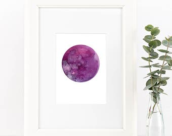 Moon Wall Art. Watercolor Full Moon. Moon Phases Decor. Personalized Gift for her. Rose Gold Moon. Lunar Art. Original Watercolor Painting.