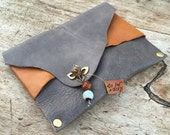 Grey leather wirstlet,Leather tabacco pouch, Handmade envelope purse,Cigarette purse, 80's bag,Lyers purse,Leather clutch,bag insert leather