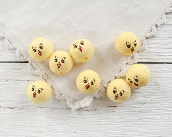 Spun Cotton Bird Heads with Faces, 22mm - Vintage-Style Chick Craft Shapes, 8 Pcs.