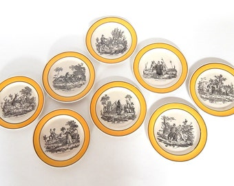 8 French Antique Plates Fables of Fontaine  c.1830  Old and Rare
