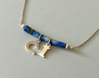 Custom Initials Lapis Lazuli Blue Bar Necklace in Sterling Silver on a delicate sterling silver chain