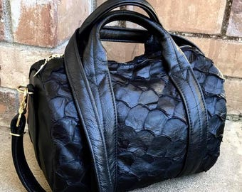 Exotic Leather Mini Duffel Bag, Arapaima skin duffel - Laurel Dasso