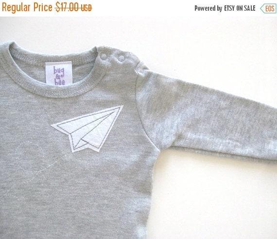Paper Airplane Grey Onesie- Short or Long sleeves