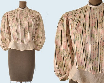 Victorian Pastel Striped Silk Blouse size XS