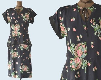 1940s Peplum Rayon Floral Dress size M