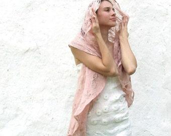 Wrap Scarf, Blush Wedding Cape, Pink Wool Shawl, Felted Shawl, Cape Shawl, Hooded Shawl, Accessories For Her, Designer Scarf, Warm Scarf