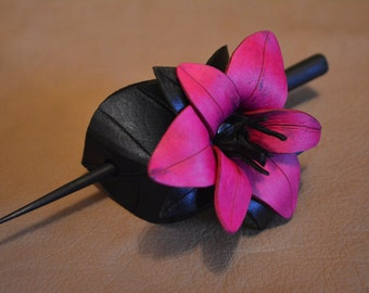 Leather Hair Barrette - Lily - Pink & Black