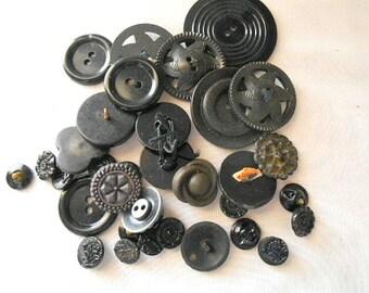 Vintage black button collection LOT