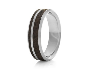Asymmetric Dual Oval Palladium - Palladium & Wood Ring