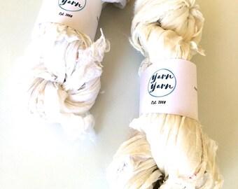 Silk chiffon ribbon, 100g, soft white, knitting yarn, crochet yarn, ribbon yarn. Craft ribbon, knitting ribbon, 100g.