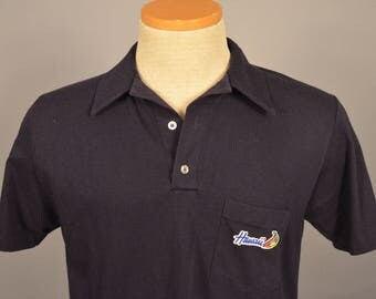Vintage 80s Hawaii Blue 50/50 Cotton Blends Polo w Pocket M Medium MADE IN USA