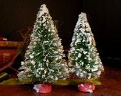 Vintage Bottle Brush Trees / Set of Two / Christmas Decorations / Flocked Putz Christmas Trees
