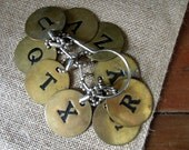 Vintage Brass Round Letter Tags / Nine Brass Round Letter Tags