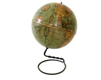 Vintage World Globe C1925 Pst WW1 Rand McNally Student Sphere