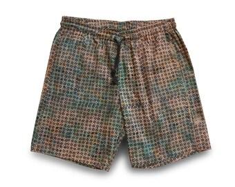 Mens Festival Short, Boyfriend Gift, Mens Shorts Batik, Brown Mens Festivalwear, Cotton Short Elastic Waist