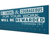 Running, Gifts for runners Running medal holder, race bib hanger, 5K, 10K, Half and full marathon,be strong and courageous,2 Chronicles 15:7