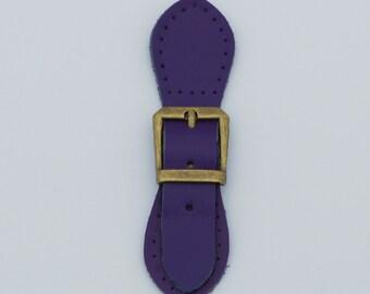 Leather Bag Buckle - Purple (Brass Fittings)
