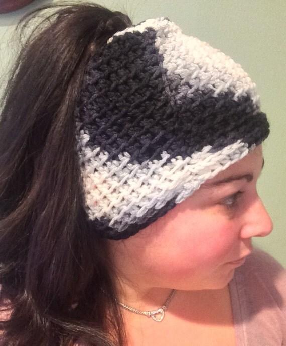 Messy Bun Hat, Ponytail Hat,  Long Hair Beanie, Black and White Ponytail Hat, Black and White Messy Bun Hat, Bad Hair Day Beanie